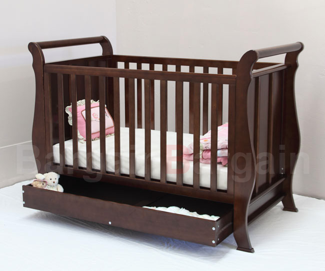 3 In 1 Wooden Baby Toddler Cot With Drawer Free Mattress 210